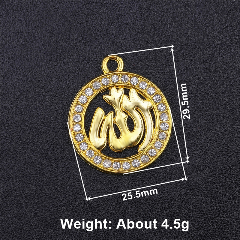 Image 3 - Juya 5pcs Wholesale Islamic Charms Rhinestones Gold Silver  Crescent Allah Connectors Accessories For Muslim Qamis Jewelry  MakingCharms
