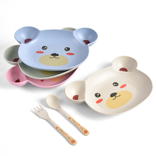 Baby bowl+spoon + fork Feeding Food Tableware Cartoon Panda Kids Dishes Baby Eating Dinnerware Set Anti-hot Training Bowl Spoon 3pc set baby dishes stainless steel baby spoon fork portable box set cartoon baby feeding food training tableware children spoon