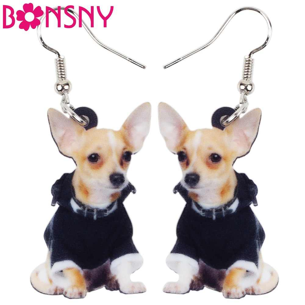 Bonsny Acrylic Anime Dangle Drop Novelty Chihuahua Dog Big Long Earrings Fashion Animal Jewelry For Girls Women Ladies Wholesale