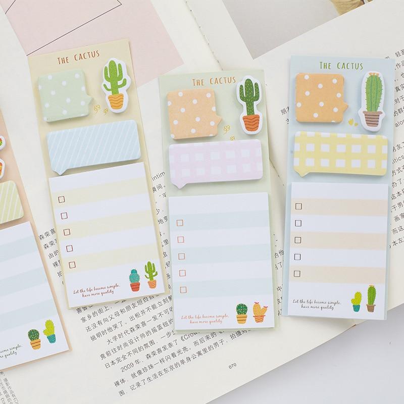 Créatif mignon Cactus mémo tampons planificateur Kawaii collant auto-adhésif papier Note autocollants école bureau papeterie fournitures