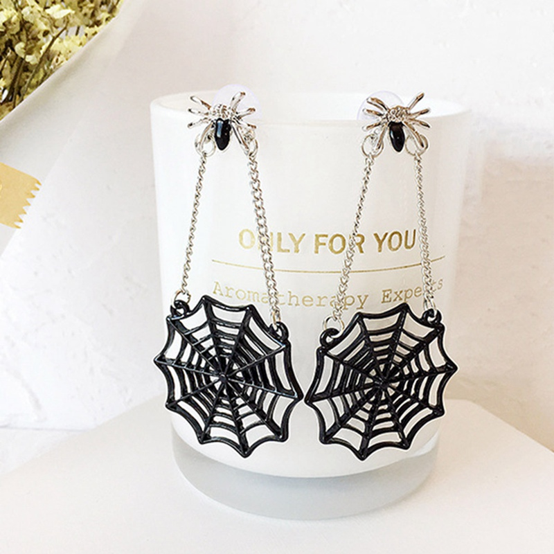 New Spider Web Women Fashion Stud Earrings Ear Post Black Silver Color Spider Animals Earrings Jewelry