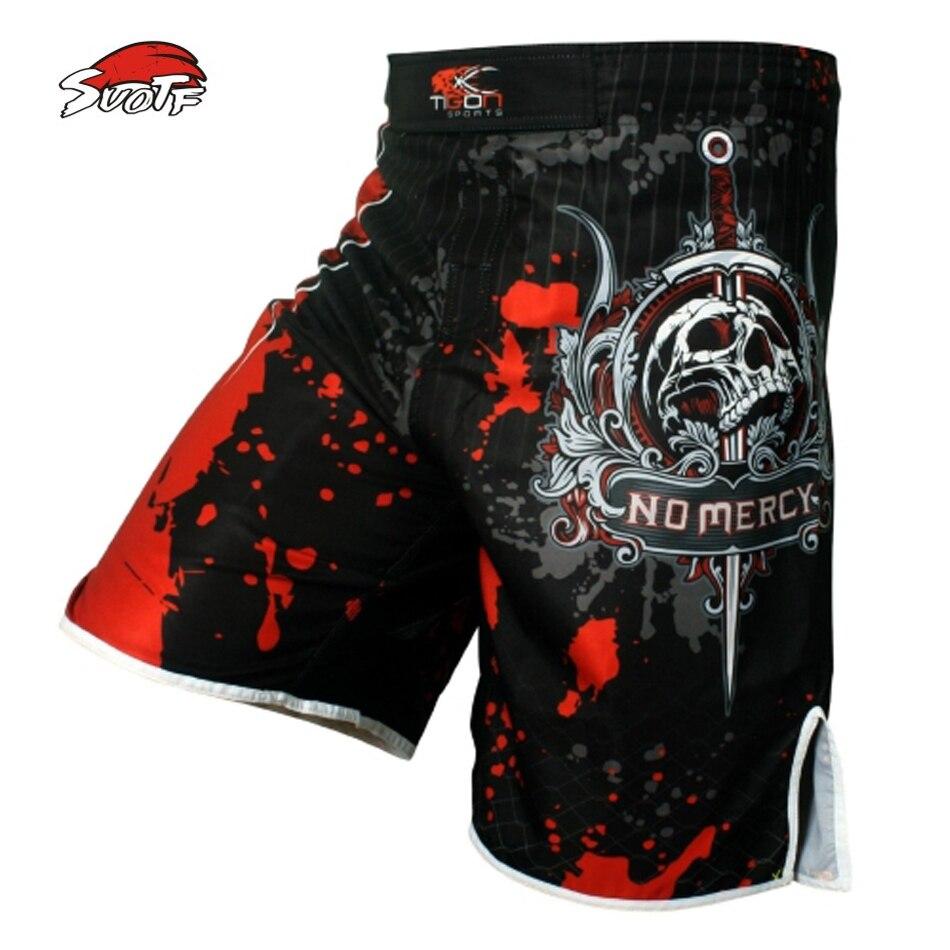 SUOTF Hommes squelette de crâne cool impression tête lutte pantalons muay thai shorts de boxe de boxe shorts pas cher shorts mma muay thai