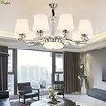 Современный  хромированный  металлический  светодиодные люстры  освещение  стеклянные оттенки  гостиная  Led подвесные люстры  Светильники д...