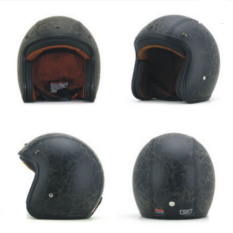 Retro Leather Halley Helmets Motorcycle Retro Half Cruise Prince half face open face black white Helmet DOT Approved
