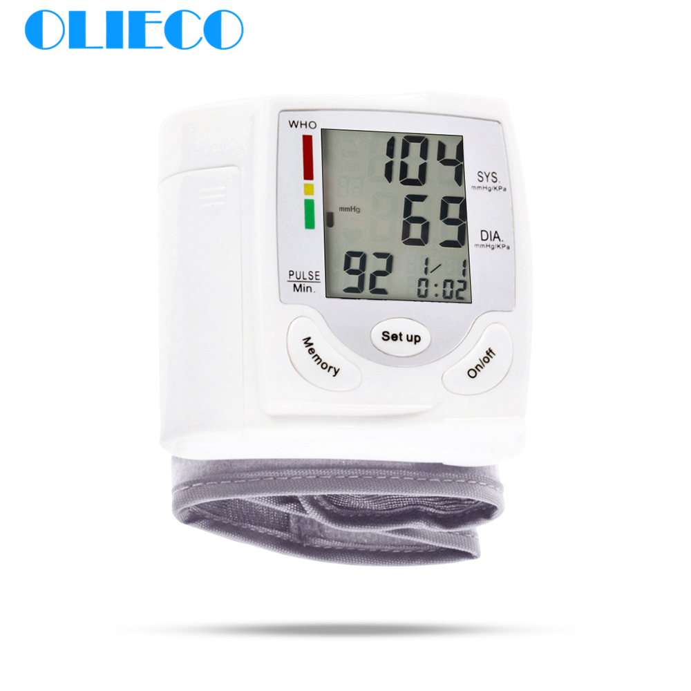 OLIECO Digital Fast Accurate Wrist Blood Pressure Monitor Portable Electric LCD Pulse Rate Heart Beat Meter Diagnostic Devise CE