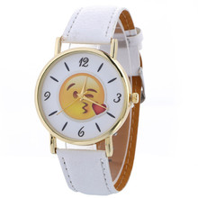 New Women's watches Relogio feminino Saat Neutral Cute Expression Fashion Leather Quartz Wrist Watch women,XL30