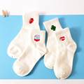 Retro Style Kawaii Women's Heart Milk Box Four Leaf Clover Tongue Cartoon Short Socks Cute Preppy Style White Cotton Sock