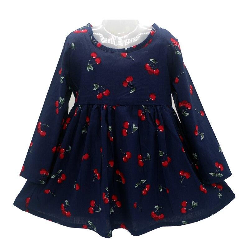 Brand New spring and autumn girl dress cherry print baby girl dress children clothing kids dress 1-6years Free Shipping