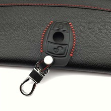 2 buttons leather car remote key case For Mercedes Benz Accessories W124 W202 W203 W210 W211