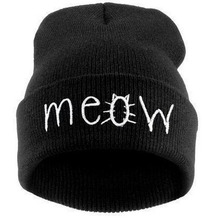 Fashion meow cap men loose-fitting hip-hop knitted wool cap hat Skullies warm winter hat for women direct delivery SW43 2016 New
