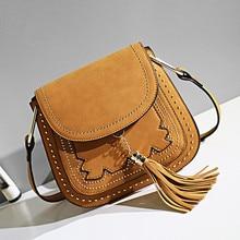 2016 Casual Women Handbags PU Nubuck Leather Rivets Tassel Hand Bag Flap Shoulder Messenger Crossbody Black Bags Saddle Gifts