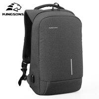 Kingsons Brand 15 Men Laptop Backpack External USB Charge Antitheft Computer 13 Backpacks Male Waterproof Bags