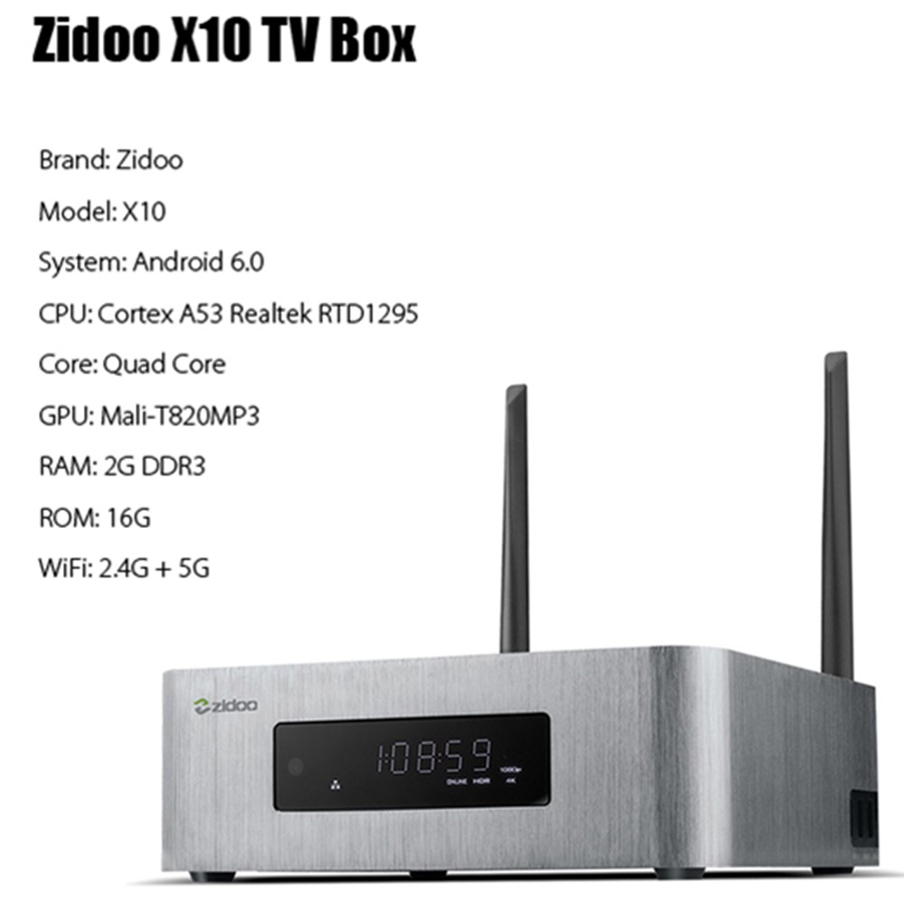 ZIDOO X10 Andoid 6.0 Smart TV Box Sistema Dual Quad Core 2g/16g Dual Band WIFI 1000 m LAN HDR USB 3.0 SATA 3.0 Media Player