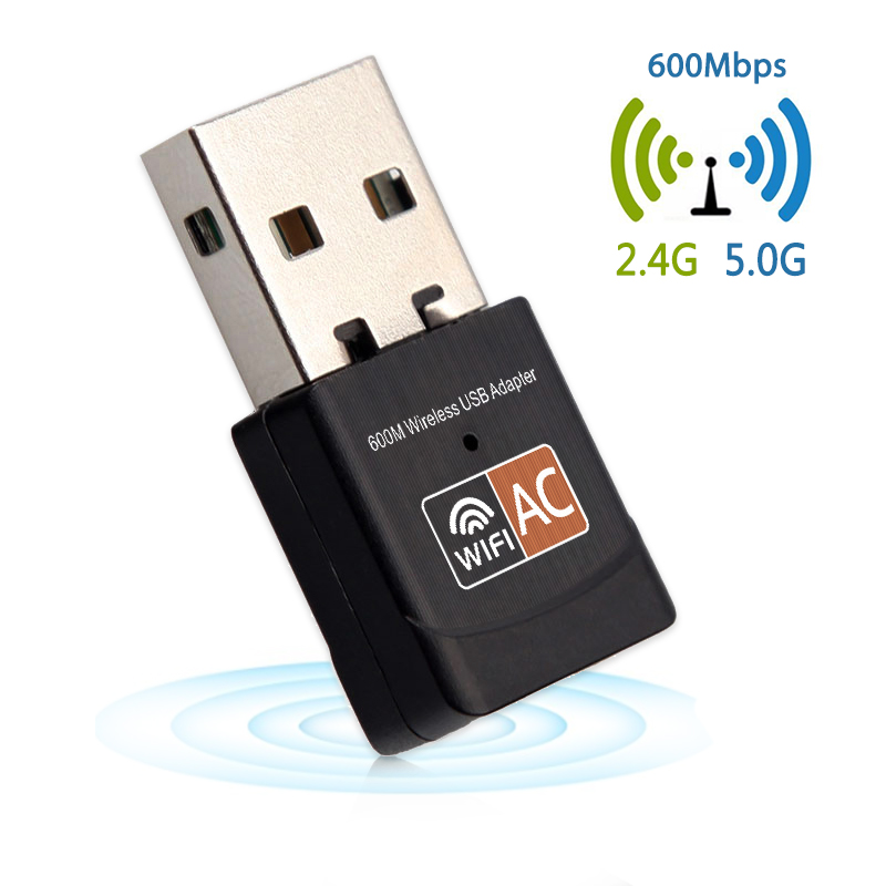 USB WiFi Adapter AC 600Mbps PC Mini Wireless Wifi Antenna Network Card Dual Band 2.4+5.8Ghz Lan Ethernet Adapter 802.11a/g/n/ac
