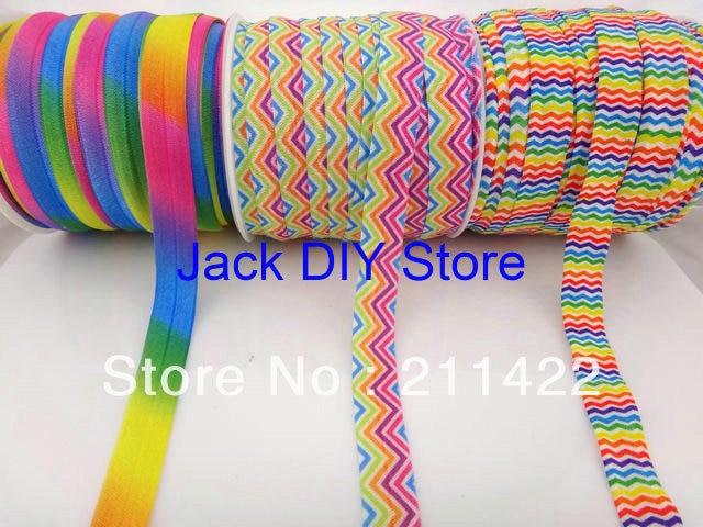 3rolls/lot Neon Rainbow ,Neon Chevron, Rainbow Chevron FOE 50 Yards/roll 1.5cm for headband Hair Accessories Free Shipping