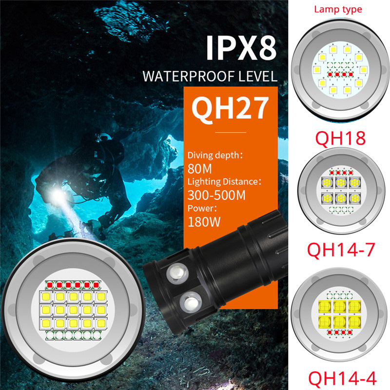 15 L2 6 Blue 6 Red 45000LM Powerful LED Flashlight Waterproof Diving Flashlight Underwater 80M Dive
