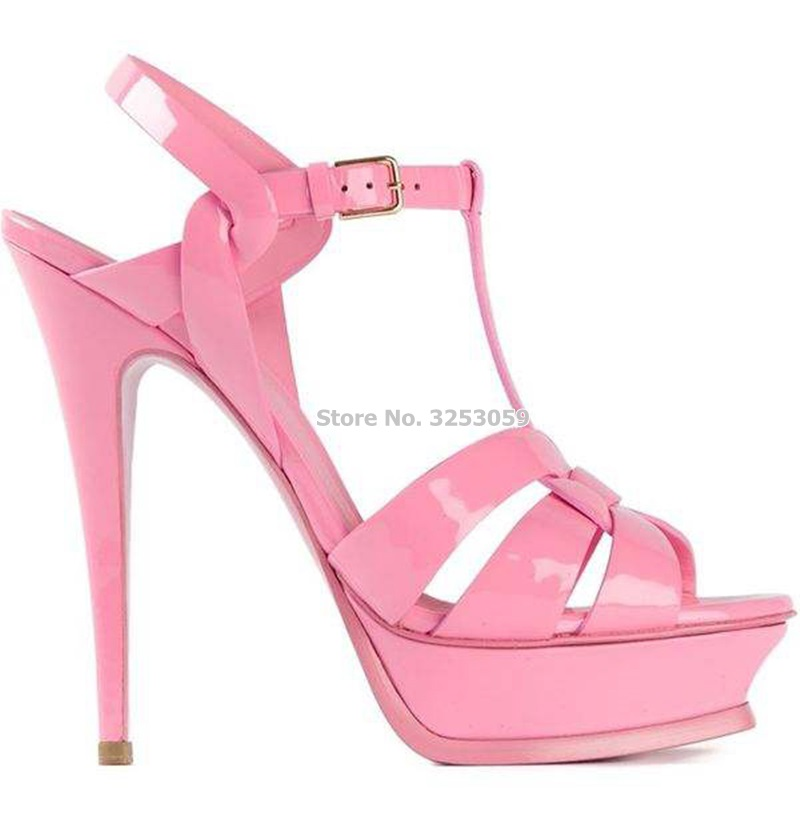 ALMUDENA Candy Color Patent Leather Platform Sandals Buckle Strap Thin High Heels Sandals Concise Elegant Party Shoes Dropship
