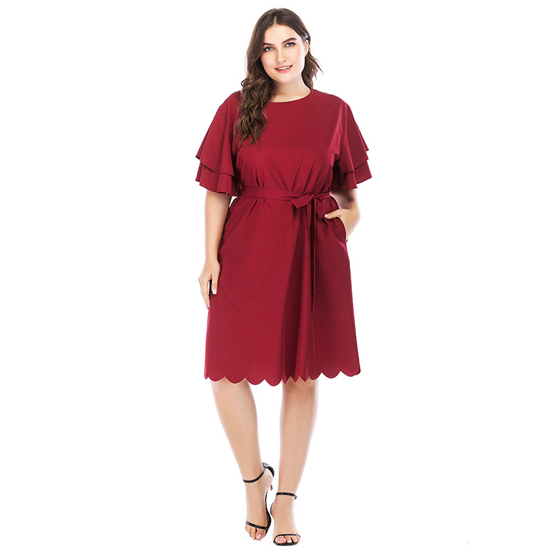 fb421a88275 MINODY Plus Size Dress Red Women Fasion Sashes Summer Empire Line Short  Sleeve A Line Casual O Neck Solid Beautiful Dress 2080-in Dresses from  Women s ...
