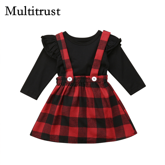 279f8a69c 2018 Multitrust Brand Christmas Baby Girls Clothes Outfits Black Winter T- shirt+Overall strap Red Plaid Skirt Autumn Set