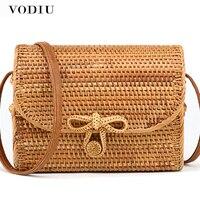 Bali Rattan Bag Summer Bohemian Straw Bag For Ladies Rattan Handbags With Butterfly Buckle Beach Handbags Women Top handle Bags