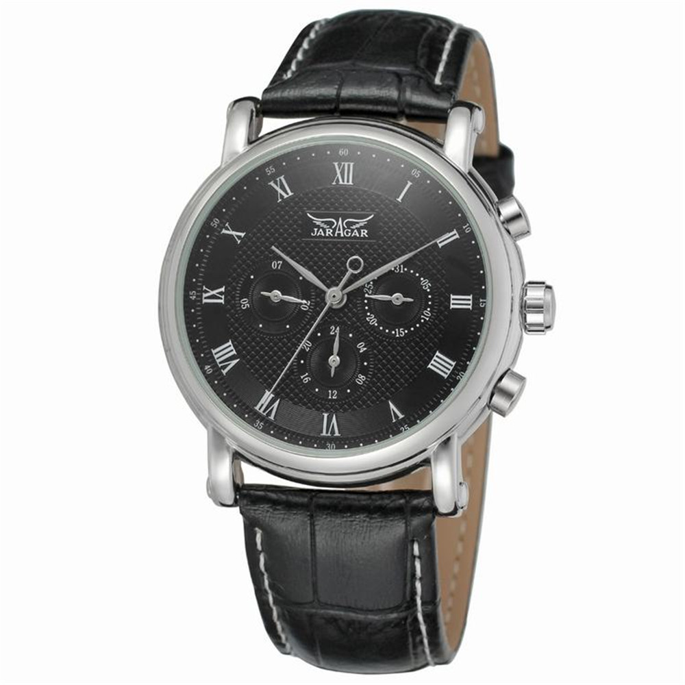 2016 Top Affordable Automatic Watches JARGAR Mens Top Brand Luxury Fashion High Quality Leather Strap Male