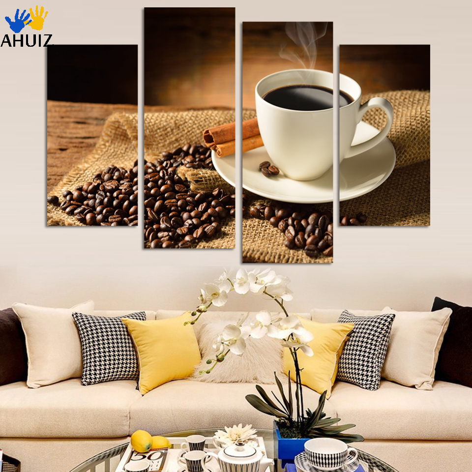 No frame canvas only 4 pieces wall pictures coffee and for Home decoration pieces