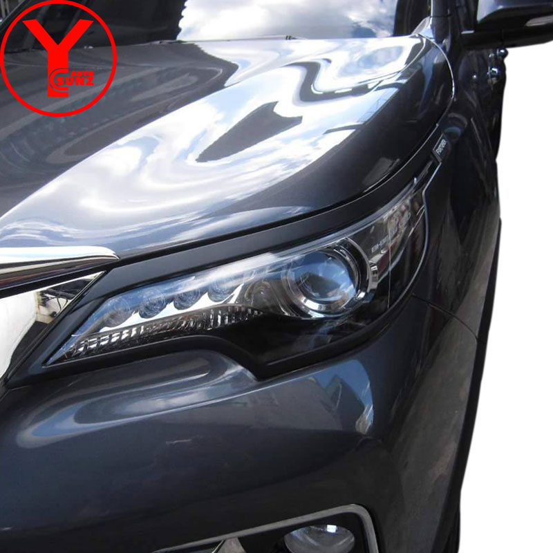 head light cover For Toyota FORTUNER SW4 hilux 2016-2017 ABS black car styling parts accessories For FORTUNER 2016 2017 YCSUNZ 2005 2017 door handle cover for toyota commuter chrome black carbon fiber accessories for toyota hiace 2016 car parts ycsunz