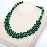 Malachite Necklace Natural Stone Crystal Pearl Chain Classic Pendant Exquisite Handmade Exaggerated Jewelry Necklace Women 2018