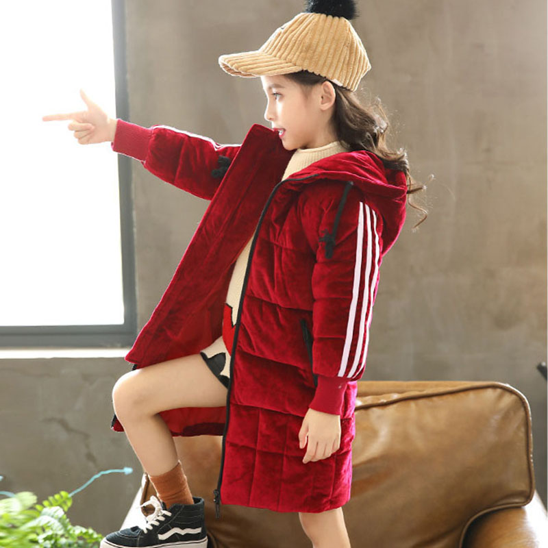 Hot 2018 Winter Cotton Hooded Jackets Teenage Girls Fashion Warm Solid Outwears Coats Kids Thick Long Jacket Children Padded 2018 new fashion suede lamb wool women coats double breasted warm solid thick long overcoat casual winter cotton jackets female