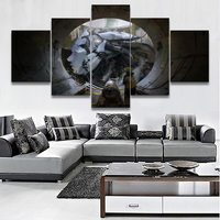Wall Art Pictures Home Decor Living Room Frame HD Prints 5 Pieces Building Giant Sci Fi Robot Poster Landscape Canvas Painting