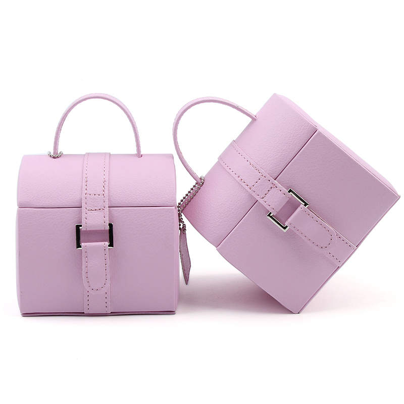 Brand European Portable Leather Jewelry Carrying Bag Case Box Women PU Two Layers Storage Ladies RIng Necklace Jewel Box