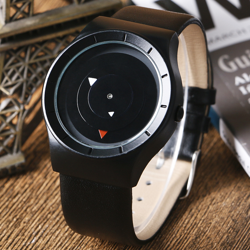 PAIDU Special Triangle Analog Casual Unique Women Men Watches Modern Genuine Leather Band Strap Turntable Wrist Watch Hours Gift special design turntable dial leather band strap all black men wrist watch modern simple fashion quartz watches