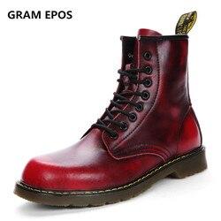 UNISEX Winter Vintage Motorcycle Boots Men Fur Plush Martin Shoes Men Snow Cowhide Leather High Top Boots one size bigger