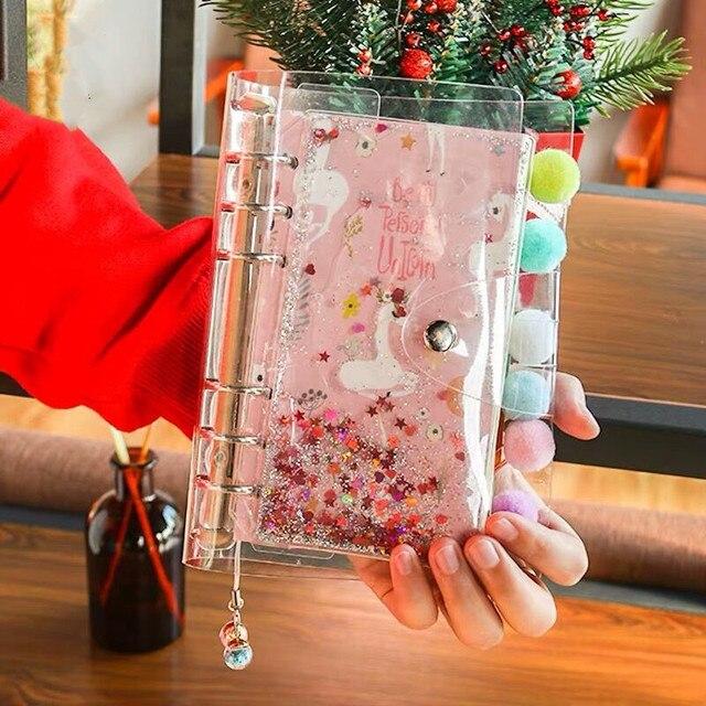 2021 koreański Bling Bling A6 luźny liść spirala codzienny planer tygodniowy notatnik z darmowy długopis Do zrobienia notatnik Agenda szkoła papiernicze