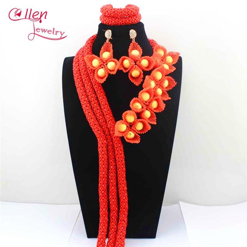 Lavender nigerian Wedding African Beads Jewelry Set Flower earrings dubai beaded Statement Bridal necklace Jewelry sets E1129