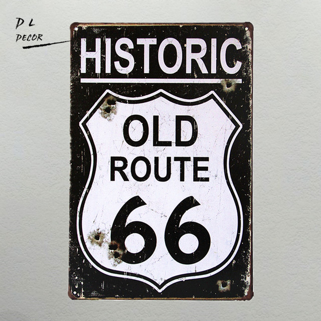 Dl Wedding Decoration I Historic Old Route 66 Metal Plaque Wall Decor Painting Art