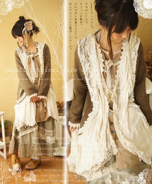Mori Girl Lace Lacing Kintted Long Cardigan Sweater Mori Girl Outerwear Camisas Tunic Cawaii Casual Trict Cardigan Brandy Mori