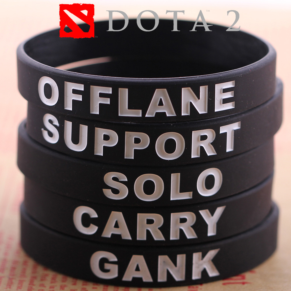 DOTA 2 Silicone Rubber Diabetes Bracelets Dota2 Braclet Carry Gank Solo Support Offlane Brasle For Best Friend Men Jewelry Male