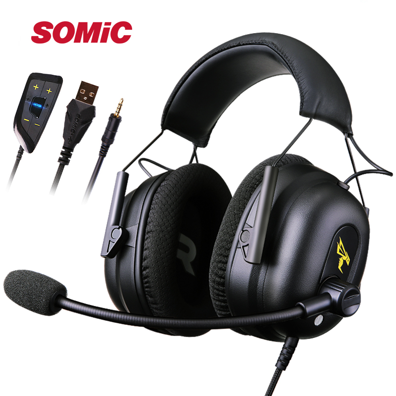SÔMICA G936N Construir em 7.1 Virtual Surround Sound Gaming LOL Fones de Ouvido USB 3.5 milímetros fone de ouvido Com Cancelamento de Ruído Fones De Ouvido para PUBG PS4 jogos para PC