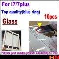 10 pcs de alta qualidade Substituição LCD Frontal Touch Screen Lente De Vidro Exterior para iphone 7 7 p mais 4.7 5.5 polegada de reparo preto branco
