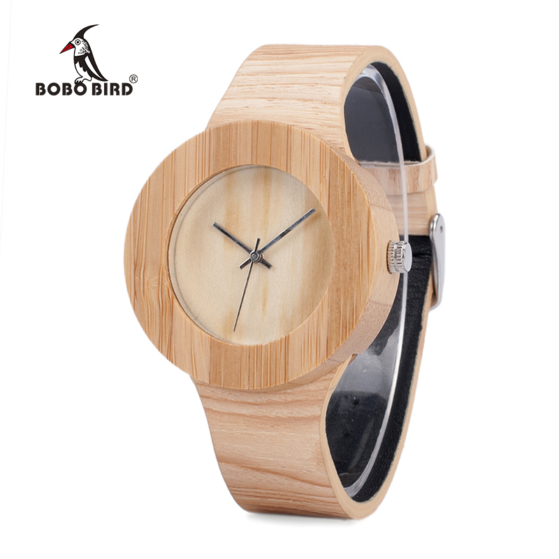 BOBO BIRD Cylinder Bamboo Wooden Wristwatch Mens Round Wood Design Japan 2035 Movement Quartz Watch with PU strap in Gift Box new 100% handmade head deer elk dial design mens bamboo wood quartz watch with real leather strap for gift relogio masculino
