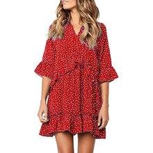 цена на DORVIVON zomer jurk plus size summer dress 2019 polka dot printed women dresses flare sleeve vintage ruffles beach ladies dress
