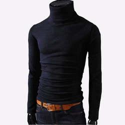 2019 новые осенние мужские свитера Повседневное мужской водолазка Мужская Черная однотонная трикотаж Slim Fit брендовая одежда свитер