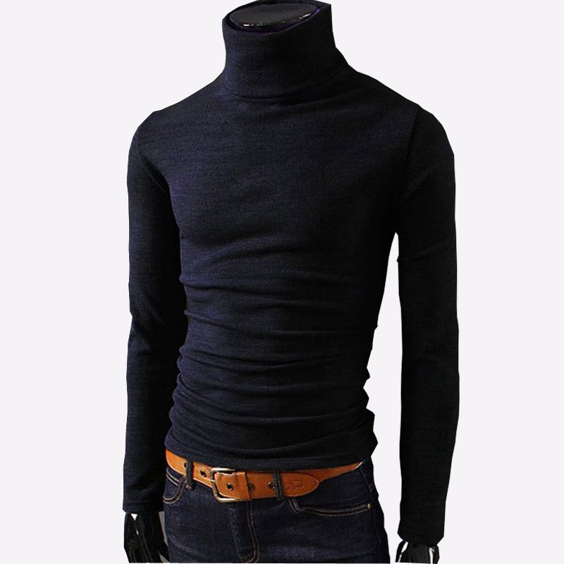 New Autumn Mens Sweaters Casual Male Turtleneck Man's Black Solid Knitwear Slim Fit Brand Clothing Sweater