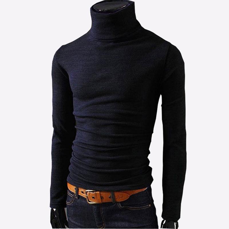 2018 Outono Nova Mens Camisolas Casual Masculino camisola de gola alta Malhas Slim Fit Roupas de Marca Camisola do Homem Sólido Preto