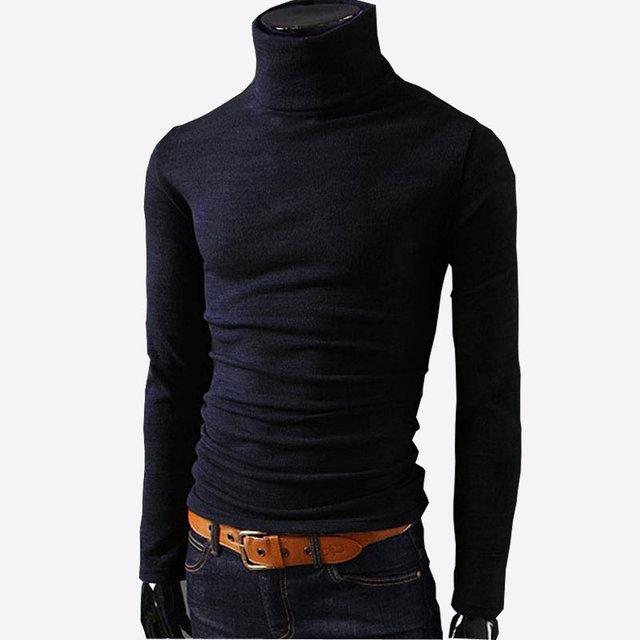 2019 neue Herbst Herren Pullover Casual Männlichen rollkragen Mann der Schwarz Solide Strickwaren Slim Fit Marke Kleidung Pullover