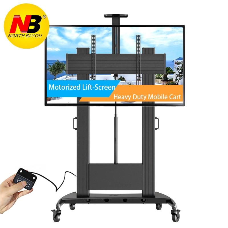 NORTHBAYOU TW100 Motorized Lift Screen Heavy Duty TV Mount Cart Fits Most 60-100 inch Flat Panel LED LCD TV Loading 134kgs 300lb