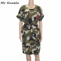 Mr Hunkle New Arrival Women S Army Style Mini Dress Sashes O NECK Loose Summer Vestidos