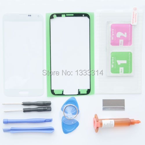 White Replacement Screen Glass Lens Kit for Samsung Galaxy S5 SM-G900M SM-G900F Tempered Glass+UV Glue+Adhesive Tape+Tools