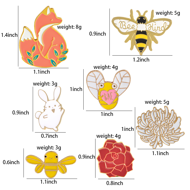 Forest Elf Collection Enamel Pins Cartoon Animals Brooches Fox Bee Rabbit Flowers Lapel Pin Custom Badges Gift for Kids Girl 2